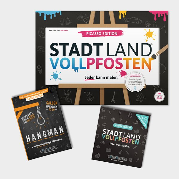 FAMILY-PACK 2 - STADT LAND VOLLPFOSTEN® Picasso Edition + Junior Kartenspiel + HANGMAN  Classic EDITION